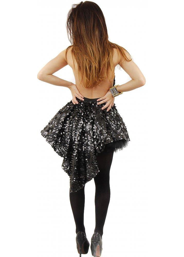 4c6947def870 Koo-Ture Spirit Black Sequin Backless Skater Dress With Dip Hem UK 12 Black:  Amazon.co.uk: Clothing