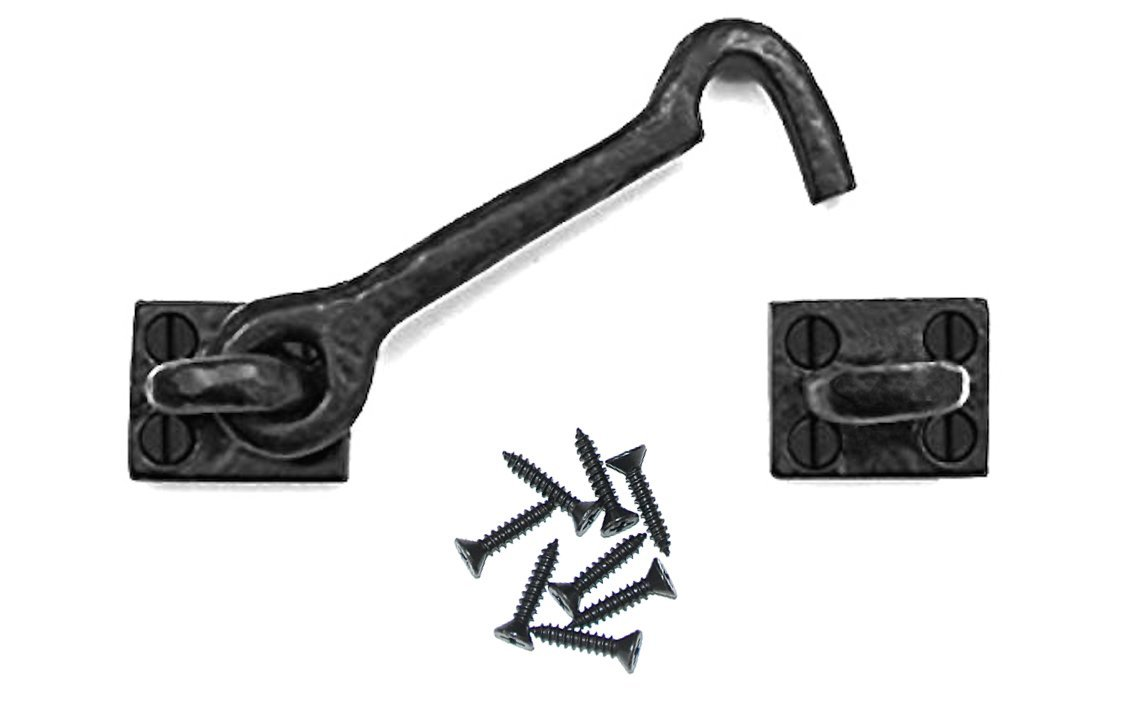 "Sliding Barn Door Cabin Hook and Eye Latch - 4.5"" Cast Iron Rustic Hardware Lock for Gate, Shed, Garage - Add a Farmhouse, Vintage, Industrial Touch to Any Decor, Interior & Exterior"