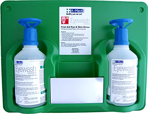 - A-Med Eyewash Station with Eye-Opener, 16 Ounce