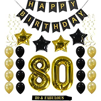80th Birthday Decorations Party Supplies Gift For Men Women