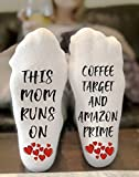 This Mom Runs On Coffee, Target and Amazon Prime Novelty Funky Crew Socks Men Women Christmas Gifts Cotton Slipper Socks