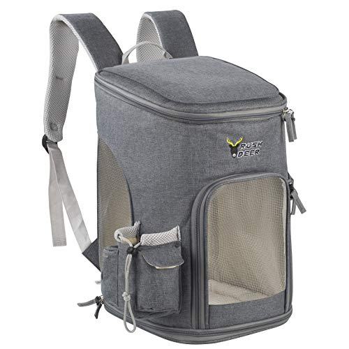 RushDeer Pet Carrier Backpack for Small Cats and Dogs, Puppies, Comfort Cat Backpack Bag Airline,for Travel, Hiking, Outdoor Use,Grey