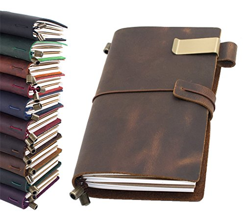 - Leather Journal, Handmade Vintage Refillable Travel Diary Writing Notebook Gift for Men & Women 8.7