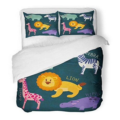 SanChic Duvet Cover Set Cute African Animals Rhino Zebra Hippo Lion Giraffe Baby Decorative Bedding Set with Pillow Sham Twin Size