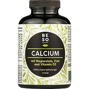 Calcium BeSoHappy® avec Magnésium, Zinc et Vitamine D (180 Comprimés pour 6 Mois) Haute Qualité – Testé en Laboratoire…