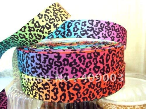 Jammas 5Y1955 Tape 7/8 '' Rainbow Leopard Printed Ribbon Grosgrain Ribbon Home Packing Wedding Decoration Gift Wrapping DIY Material