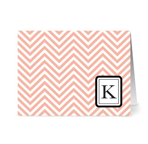 modern-chevron-k-coral-monogram-24-cards-blank-cards-w-grey-envelopes-included