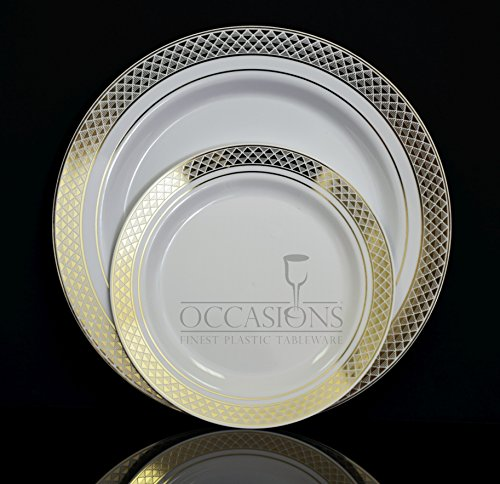 """""""OCCASIONS"""" Celebration Collection Disposable Plastic plates White/gold- Choose size and qtty! (10, 10.5'' dinner plate)"""