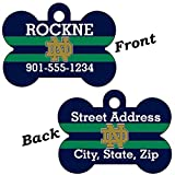 Notre Dame Blue&Green Double Sided Pet Id Dog Tag Personalized With 4 Lines of Text