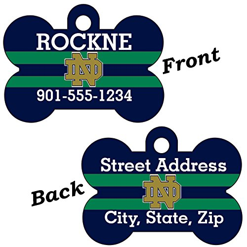 Notre Dame Blue&Green Double Sided Pet Id Dog Tag Personalized With 4 Lines of Text ()
