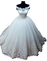 BEALEGAN Lady Women's Organza Ball Gown Lace Appliques Wedding Dresses