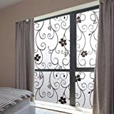 OMG_Shop Glass Stickers Home Decor Frosted Black Wrought Iron Flower Sticker 45cm(17.7 Inch Wide) -100cm