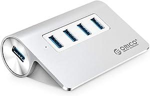 ORICO 4-Port USB 3.0 Unibody Aluminum Portable Data Hub - Perfect for MacBook, Mac Pro/Mini, iMac, XPS, Surface Pro, Notebook PC, USB Flash Drives, Mobile HDD - Silver