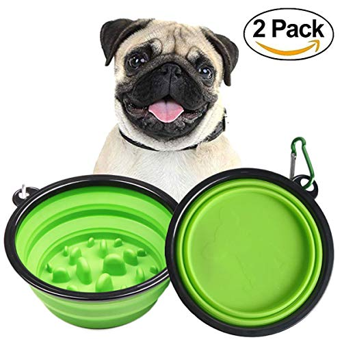 Dog Bowls Slow Feed Cat Bowl Silicone Portable Foldable Water Food Storage Containers Pet Travel Bowl with Carabiner 1.5…