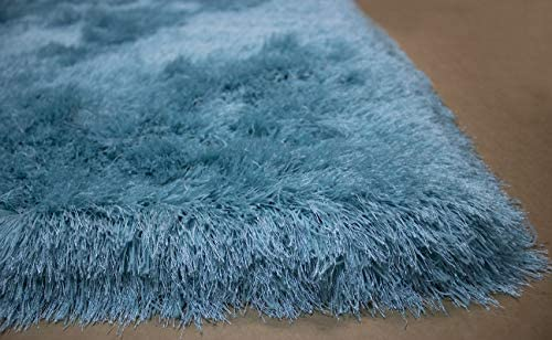 8 x10 Feet Light Blue Sky Blue Baby Blue Color Solid Plush Shag Shaggy Area Rug Carpet Rug Decorative Designer Bedroom Living Room Modern Contemporary Hand Woven Knotted Plush Pile Hard Canvas Backing