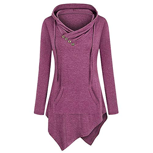 Women Long Sleeve Solid Pullover Pocket Irregular Hem Hoodie Blouse Tops