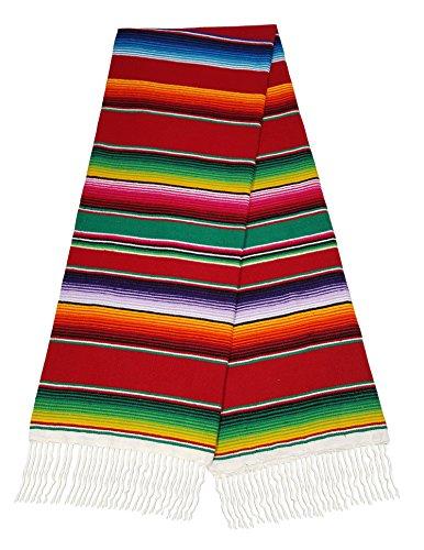 "El Paso Designs Mexican Serape Blankets Extra large Bright & Colorful Saltillo Serape Blanket 84""x62"""
