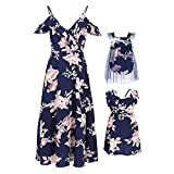 PopReal Mommy and Me Floral Print Strap Chiffon Fly Sleeve Romper Matching Dress