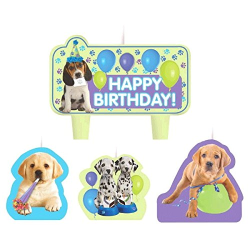 """Nice Amscan Party Time Party Pups Molded Mini Character Birthday Candle Set, Pack of 4, Multi, 1.25"""" Wax free shipping"""