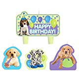 Party Time Party Pups Molded Mini Character Birthday Candle Set, Pack of 4, Multi , 1.25' Wax