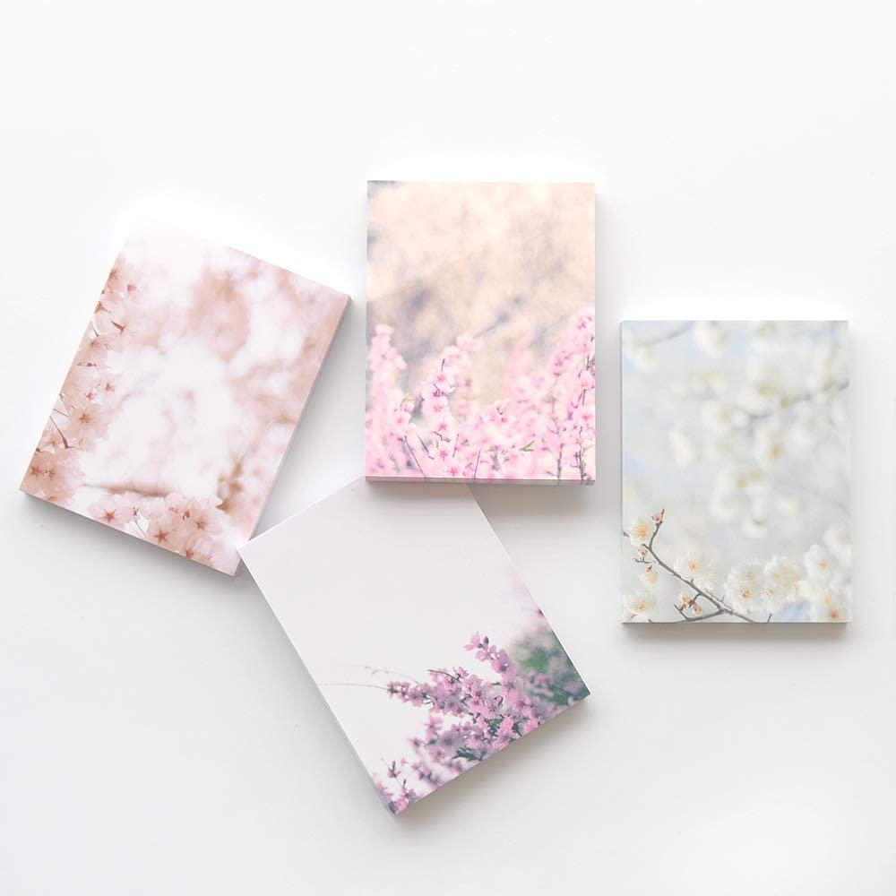 4 Different Designs Total 400 Sheets Monolike Notepad Spring Photo design Writing pads Memo pads 4 Packs 100 Sheets Per Pad 3.15 x 4.17 Inches