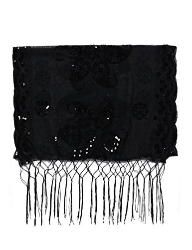 Kayamiya Women's 1920s Shawl Sequin Wedding Cape Evening Shawl With Fringed Black7
