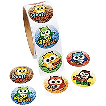 Fun Express Woot! Owl Roll Stickers - 100 ct