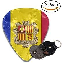 Andorra Flags 351 Shape Classic Medium Celluloid Guitar Picks Bass Musical Instruments Plectrums 6-Pack