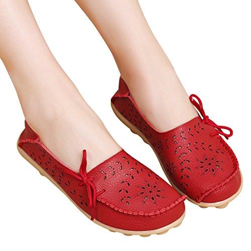 WENN FÜHLEN Frauen Flats Leder Driving Loafer Schuhe Rot-3