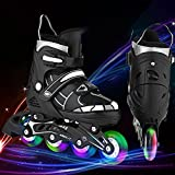 ANCHEER Adjustable Inline Skates Black For Girls Boys Inline Roller Skate Youth Outdoor Roller Skating Size 4 5 6 7
