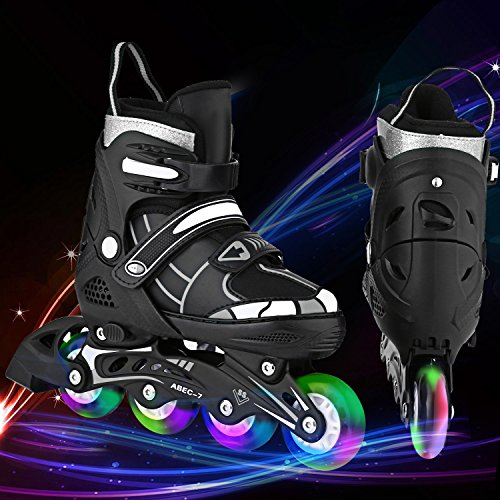 Aceshin Inline Skates Kids, Rollerblades Adjustable Illuminating Wheels, Safe and Durable for Boys and Girls (R3-Black&White, M-2-5)