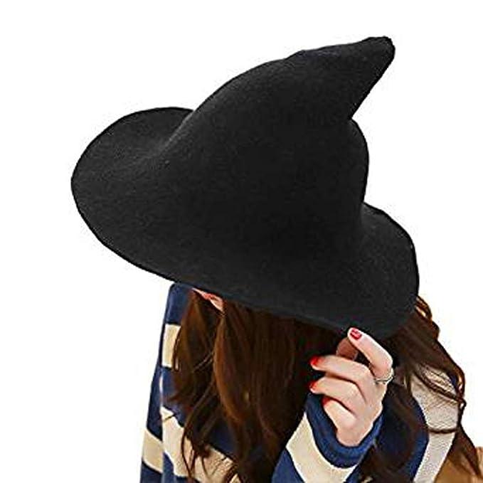 3c1f9e09ff8 Gaonana Modern Witch Hat Wool Halloween Knit Cap Wool Big Brimmed Party  Costume (Black)