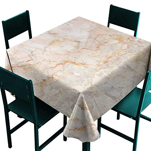 (ScottDecor Marble Table Cloths Spill Proof Mine Pattern Design Natural Fractures Realistic Stained Surface Art Print Orange Sand Brown Tablecloth 4 Seater W 54