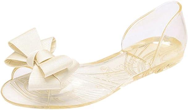 Summer Women/'s Bowknot Peep Toe Flats Jelly Slip On Summer Beach Sandals Shoes