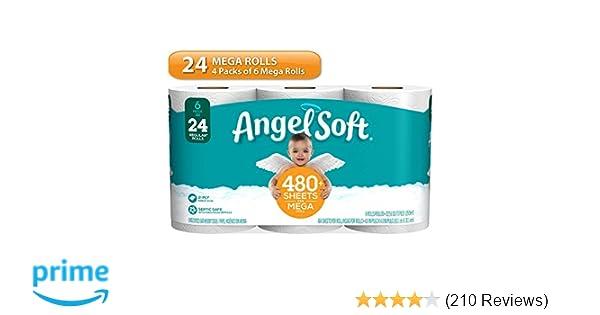 Angel Soft Toilet Paper, 24 Mega Rolls, 24 = 96 Regular Rolls, Bath Tissue, 4 Packs of 12 Rolls