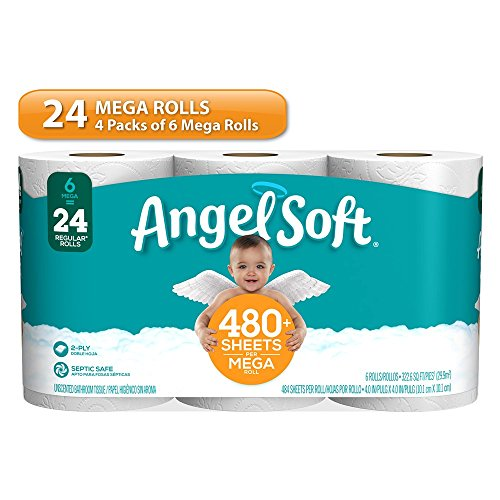 Angel Soft Toilet Paper, Mega Rolls, Bath Tissue, 24 Count
