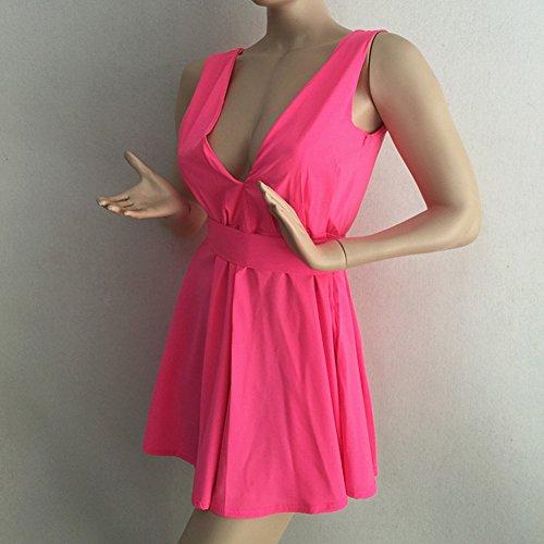 ❤  Material Damen Ärmellos Abendkleider Tief V-Ausschnitt Sommerkleid Rückenfrei  Partykleid Mädchen Kleider Frauen Kleid Minikleid Solide ... 8ab84455f0