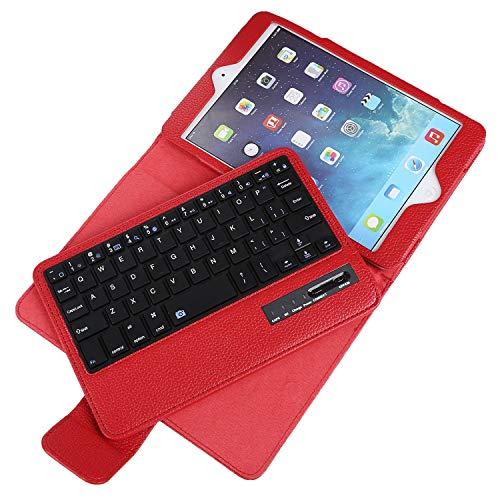 Binguowang Keyboard Case for iPad Mini 1 2 3 4 with Detachable Wireless Keyboard, Ultra Slim PU Leather Folio Stand Cover for iPad Mini1/2/3/4, Red (Ipad Mini Red Bluetooth Keyboard)