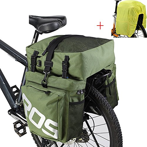 Mountain Pannier - ROSWHEEL Bike Accessories 37L Waterproof MTB Mountain Bike Rack Bag 3 in 1 Multifunction Road Bicycle Tail Luggage Pannier Double Side Rear Seat Trunk Bag Saddle Storage with Rain Cover - Green