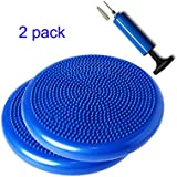 2 Pack - SueSport Air Inflated Stability Wobble Cushion, Balance Disc, Twist Massage, 14 Inch, Blue