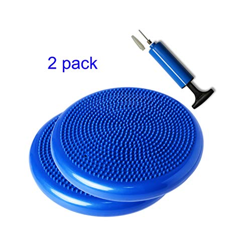 2 Pack - SueSport Air Inflated Stability Wobble Cushion, Balance Disc, Twist Massage, 14 Inch, Blue ()