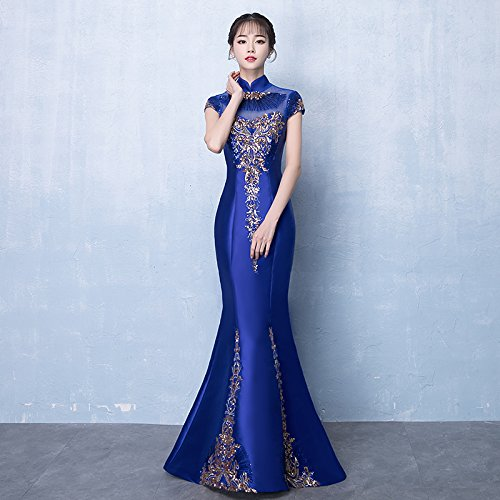 Elegante Raso Donna In Da Royal Gonna Sera Fishtail JKJHAH Cheongsam Con Da Blue Abito xHqwn8AU