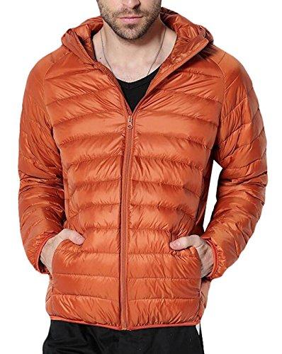 S Piumino Cappuccio Cappotto Packable Noi Cappuccio Arancione Con Eku Puffer Con Uomini qxxU4vA