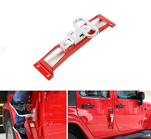 MOEBULB Hardtop Door Hinges Foot Peg Rest Pedal 1pcs for 2007-2017 Jeep Wrangler JK & Unlimited (Red)