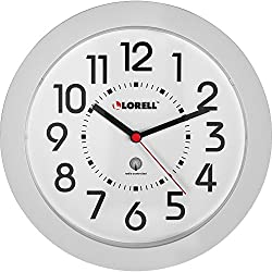 Lorell Round Profile Radio Controlled Wall Clock - Digital - Quartz - Atomic