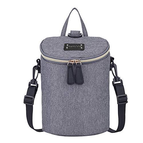 HaloVa Baby Bottle Bag, Mini Diaper Backpack, Insulated Breastmilk Milk Tote Crossbody Bag, Double Bottles Capacity with Anti-Theft Pocket, Gray