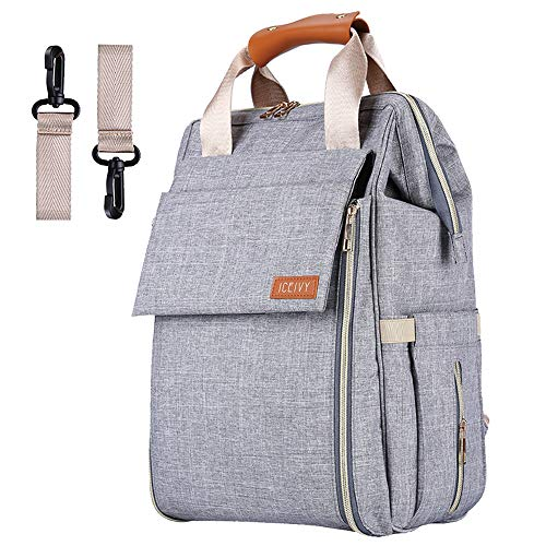Baby Diaper Bag Backpack, Baby Bag,Multi-Function Waterproof Travel Nappy Bag for Baby Care, Large Capacity, Durable and Stylish Changing Bag for Mom and Dad (B Grey)