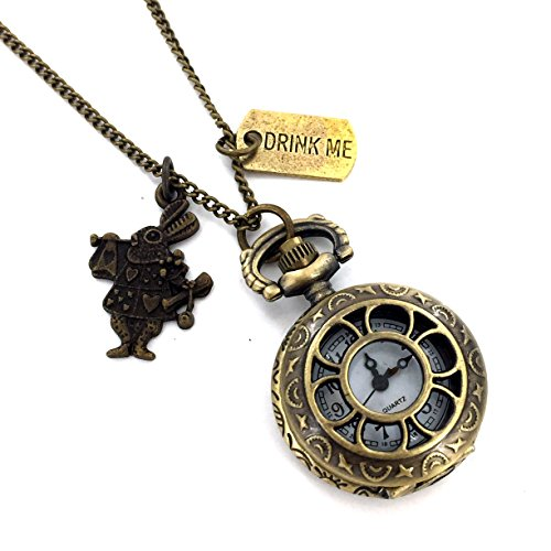 Fallen Womens Costumes (Drink Me Tag & Rabbit Pocket Watch Necklace)
