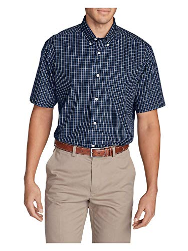 Eddie Bauer Men's Wrinkle-Free Relaxed Fit Short-Sleeve Pinpoint Oxford Shirt - (Pinpoint Fit Dress Shirt)