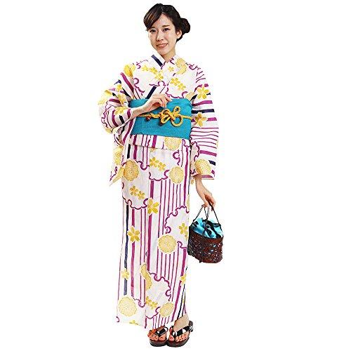 深くミッション保持する浴衣 レディース 単品 縞に黄の桜